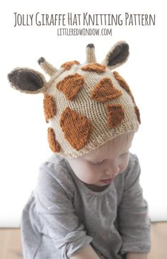 This cute little giraffe hat knitting pattern is a fun and easy knitting project for babies and toddlers!