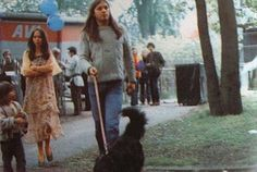 Gilmour walking a dog