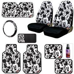 New Design Disney Mickey Mouse Car Seat Covers Floor Mats Steering Wheel Cover CD Visor Organizer Set with Travel Size Purple Slice - Walmart.com