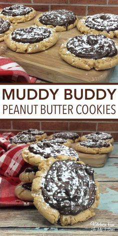 40 Peanut Butter Desserts That Will Blow Your Mind Peanut Butter Desserts: Peanut Butter Muddy Buddy Cookies Desserts Keto, Desserts Nutella, Peanut Butter Desserts, Peanut Butter Cookie Recipe, Mini Desserts, Cookie Desserts, Just Desserts, Delicious Desserts, Yummy Food