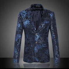 Blazers Information about Floral Print Plus Size Slim Fit Italy Style Fashion Jaqueta Masculina Evening Party Fantastic New Style Blazers for Men,High Quality blazer clothing