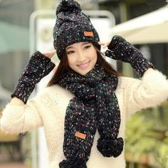 Winter knit womens hat scarf and glove set best Christmas gifts