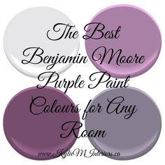 The Best Benjamin Moore Purple Paint Colours (and undertones) the best most popular benjamin moore purple paint colours for any room in your home Kitchen Paint Colors, Room Paint Colors, Interior Paint Colors, Bedroom Colors, Wall Colors, House Colors, Purple Living Room Paint, Behr Colors, Color Mauve