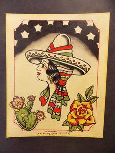 Original painting, vintage traditional tattoo flash inspired, pretty Senorita with cactus and rose