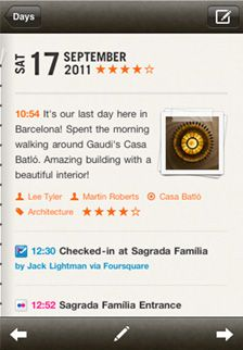 Momento diary app - imports Facebook and Twitter posts. iPhone