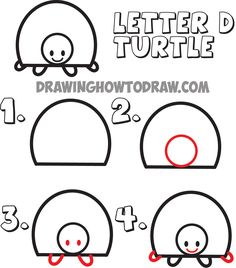 how to draw cartoon turtles from the uppercase letter D shape