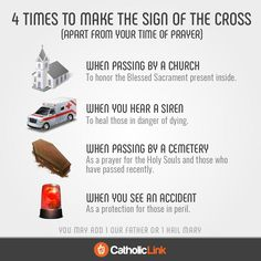 Catholic quotes, infographics, memes and more resources for the New Evangelization. Infographic: 4 times to make the sign of the Cross. Catholic Sacraments, Catholic Theology, Catholic Religious Education, Catholic Catechism, Catholic Religion, Roman Catholic Beliefs, Roman Catholic Prayers, Catholic Lent, Religious Studies