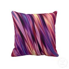 Sunset colors of purple, blue, orange, red throw pillow or cushion. $59.95