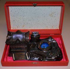 https://flic.kr/p/tH9RT2 | Vintage Smoking Set In Presentation Box - Ashtray, Cigarette Holder & Cigarette Lighter, No Manufacturer Markings