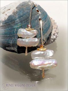 Freshwater Biwa Pearl Earrings by Renee by reneewigginsdesign, $60.00