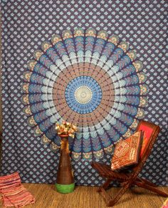 Blue Wheel Mandala Queen Tapestry