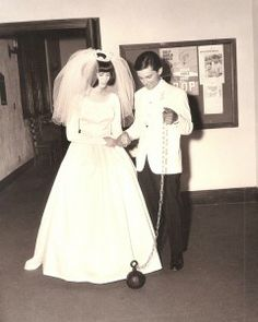 This groom's trickster brothers handcuffed him to a ball and chain after his #wedding ceremony in the 1960s. They left it on him for the entire reception!