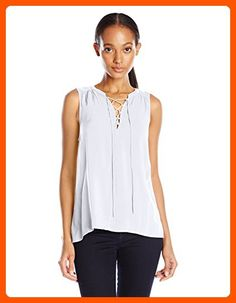 VELVET BY GRAHAM & SPENCER Women's Challis Lace up Sleeveless Blouse, White, Large - All about women (*Amazon Partner-Link)