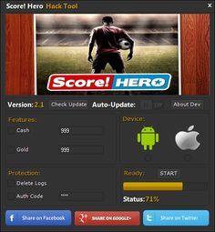 "Score Hero Hack Cheats Tool This Score Hero Hack will help you generate unlimited Energy and Cash   Score Hero Hack Cheat is our newest ""modhacks.com"" fresh from the oven. We worked hard on this one because,being a multi-platform Exploit it can be very difficult to write. After we tested this Score Hero Hack like someone's life depended … Continue reading Score Hero Hack Cheats"