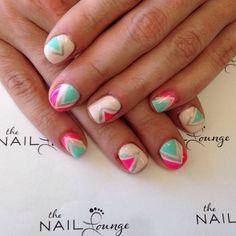 Bright neon gel nail art design