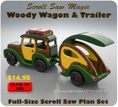 Scroll Saw Magic Woody Wagon & Trailer  Wood Toy Plan Set