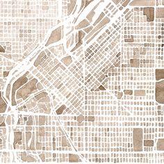 Denver Colorado Watercolor Map Print 8x10. $22.00, via Etsy.