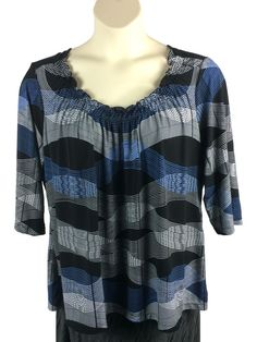 5162f8490bc90 Womens Worthington Blouse Plus Size 2X Black Blue White Elastic Neckline  3 4 Slv