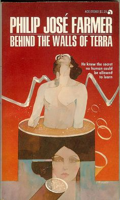 Behind The Walls of Terra - Philip Jose Farmer - cover artist Bart Forbes Fantasy Book Covers, Book Cover Art, Fantasy Books, Philip Jose Farmer, Classic Sci Fi Books, Science Fiction Magazines, Ace Books, Vintage Advertising Posters, Sci Fi Art