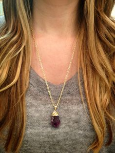 Gold Dipped Amethyst Necklace by elladolce on Etsy, $30.00