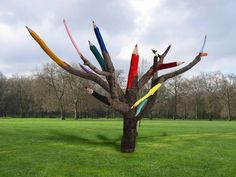 whimsical color pencil tree - in my park, please. #streetart