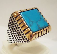 925 Sterling Silver  Men's Ring with Iranian Turquoise Firoza Free Resizing