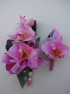 2 Piece corsage and boutonniere in pink by AlwaysElegantBridal, $30.00