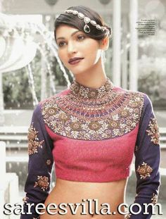Long, Full Sleeves Blouse Designs with Heavy Work   Sarees Villa