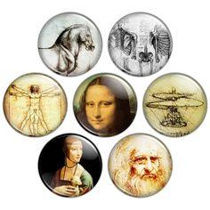 Renaissance man, Leonardo da Vinci pinback buttons or magnets, via Flickr.
