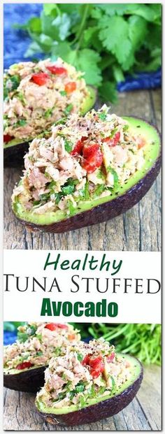 Healthy Snacks This healthy tuna stuffed avocado is full of southwestern flavors with tuna, red bell pepper, jalapeno, cilantro, and lime. - A healthy tuna and avocado lunch! Healthy Snacks, Healthy Eating, Healthy Recipes, Diet Recipes, Recipes Dinner, Dinner Healthy, Ramen Recipes, Pasta Recipes, Vegetarian Recipes