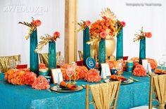 Gorgeous lux head table.. inspired by Cleopatra.. Perfect for a South Asian Wedding Teal Orange Weddings, Aqua Wedding, Wedding Colors, Dream Wedding, Luxury Wedding, Deco Orange, Orange And Turquoise, Teal And Gold, Blue Orange