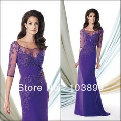 Newest Designing Scoop Neck Chiffon Long Purple Mother of the Bride Dress 2014 Half Sleeves Free Shipping-in Mother of the Bride Dresses from Apparel & Accessories on Aliexpress.com