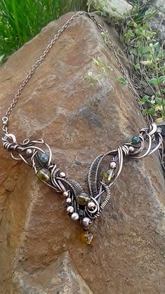 Copper necklaceCopper wire necklace with natural by Tangledworld