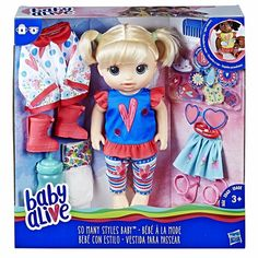 Baby Alive So Many Styles Baby (Blonde Hair) drinks her bottle & wets her diaper Baby Dolls For Kids, Little Girl Toys, Toys For Girls, Kids Toys, Baby Alive Doll Clothes, Baby Alive Dolls, Muñeca Baby Alive, Baby Blonde Hair, Petite Fille