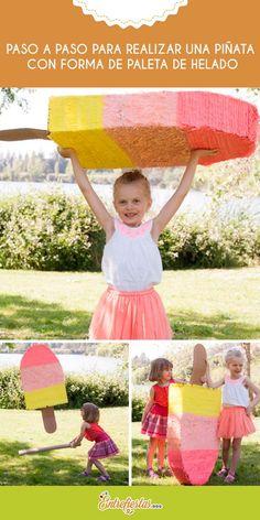 ¿Deseas crear una piñata muy llamativa para el cumpleaños de tu hija? El siguiente post explica cómo fabricar una llamativa y colorida piñata forma de paleta de helado. Anímate, los chicos no podrán resistir la tentación de derribarla.