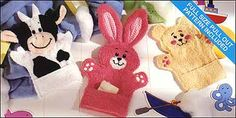 Cute Bunny (and other animals) washcloth puppets!    Free Patterns at this Site!  http://www.sewing.org/html/washpuppet.html