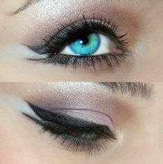 This eye make up is awful but her eye color is so pretty!