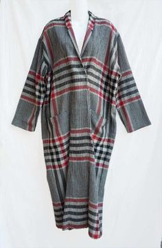 Gorgeous Vintage Norma Kamali Long Plaid Pullover Wool Gauze Dress M #NormaKamali #TaperedBoxyPulloverDress