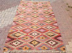"""9'6"""" x 5'4"""" Diamond design Kilim rug, Vintage Turkish rug, rugs, muted colored area rug, kelim rug, vintage rug, bohemian rug, eccentric"""