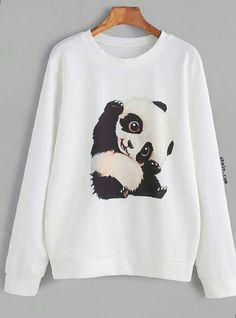 a8382ac4c9 Product name: White Panda Print Sweatshirt at SHEIN, Category: Sweatshirts