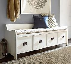 Pottery Barn's storage benches and hallway storage furniture bring order to busy entryways. Find entryway benches and bring style and storage to the room. Shoe Storage Bench Entryway, Entryway Furniture, Furniture Upholstery, Home Furniture, Drawer Storage, Entryway Ideas, Entryway Bench With Storage, Foyer Bench, Hall Bench