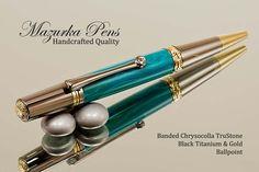 Banded Chrysocolla Ballpoint Pen with Black Titanium / Gold