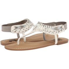 Circus by Sam Edelman Brina Women's Sandals, White (2,830 INR) ❤ liked on Polyvore featuring shoes, sandals, white, t strap flats, sam edelman flats, ankle strap sandals, white t strap sandals and white sandals