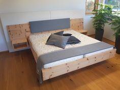 Zirbenbett schwebend mit Lodenkopfteil Decor, Bed Design, Bed, Furniture, Bedroom Bed Design, Bedroom, Home Decor, Bedroom Bed, Room