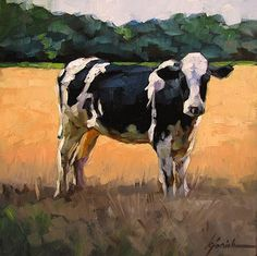 """Pasturized"" - Original Fine Art for Sale - © Karin Jurick- would be neat to try… Cow Painting, Painting & Drawing, Cow Pictures, Farm Art, Cow Art, Wildlife Art, Art Plastique, Animal Paintings, Pet Portraits"
