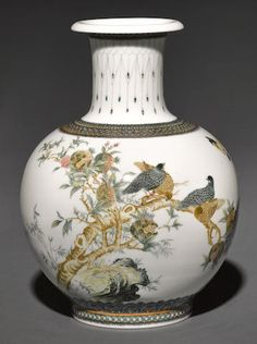 An unusual exhibition vase with interior and exterior painted decoration Dated by inscription to 1969, $8750