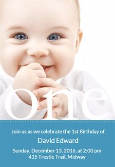"""One Year Photo""  printable invitation template. Customize, add text and photos. Print or download for free!"