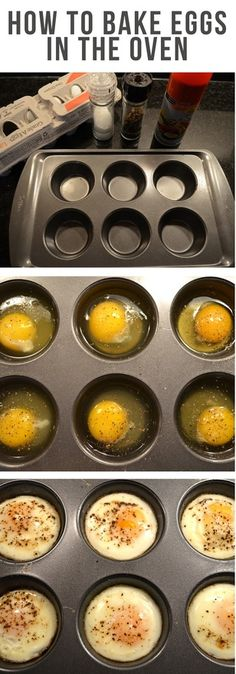 how to bake eggs in the oven  All you have to do is set your oven to 350F, grease a muffin tin with non stick cooking spray, and crack your eggs into the tin. Then add some flavor with a little shake of salt and pepper. Bake for about 17 minutes and viola. Brunch?
