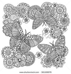Flowers and butterflies. Zentangle style. Black and white. Vector illustration. The best for coloring book - stock vector