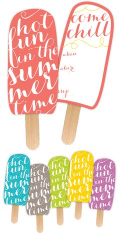 Summer Party Printable Popsicle Invitations, so cute